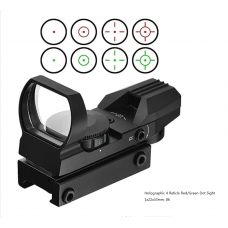 20mm Hunting Optics Picatinny / Weaver Rail Universal Fit Tactical Holographic Red Dot/Green Reflex 4 Reticle Sight with Mount