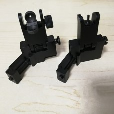 Black Universal Fit Aluminum Picatinny, Magpul, M4, M16, AR10, AR15, AK, Flip up Front and Rear Backup lron Sight